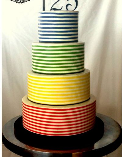 Colourful horizontal stripe tiered cake
