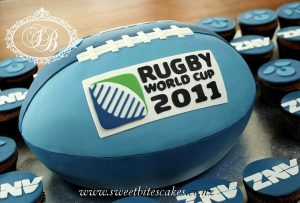 Rugby world cup ball cake