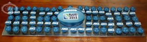 ANZ rugby world cup cupcakes and rugby ball cake