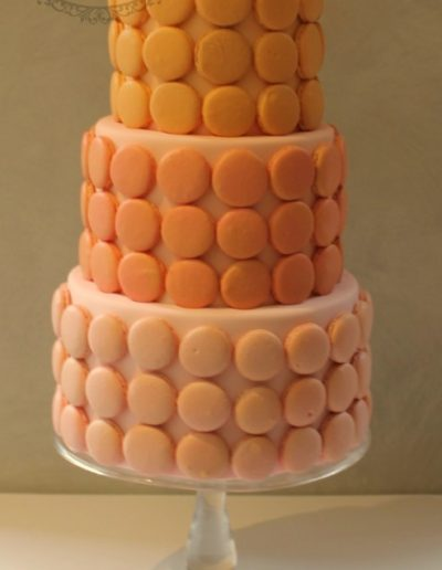 Peach macaron shell wedding cake