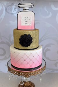 3 tier Chanel Perfume Cake with gold & pink details