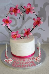 Orchid heart wreath cake