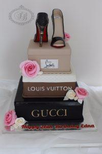 3 tier designer shoe box cake