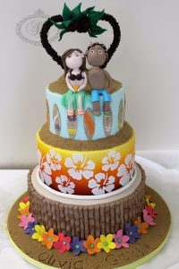 3 tier tropical themed cake with fondant figurines