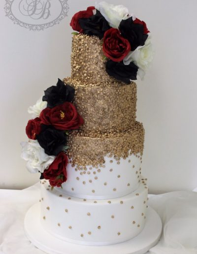 Gold confetti fade with maroon, black and white flowers