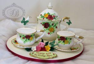 Floral teapot and teacup set cake