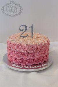 Buttercream rosette ombre pink cake