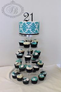21st blue damask cake with cupcake tower