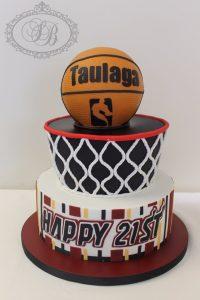 2 tier basketball cake with 3D cake basketball