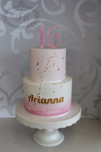 2 tier pink watercolour cake with gold splatter