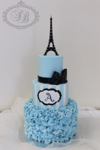 3 tier blue Paris theme cake with Eiffel tower