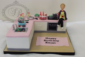 3D realistic kitchen cake with fondant foods