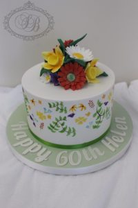 1 tier hand painted flowers cake