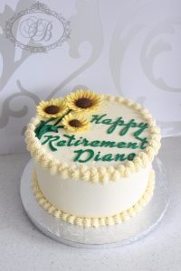 Vanilla buttercream cake with sunflowers