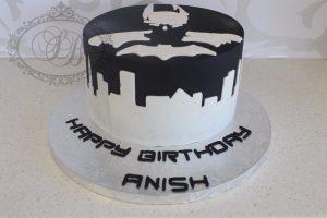 Simple black and white Batman cake