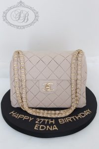 Beige and gold Chanel bag cake