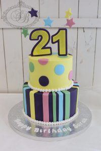 2 tier multicolour stripes and spots cake