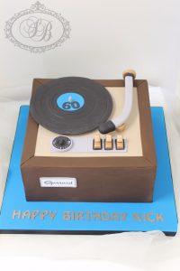Square record player cake