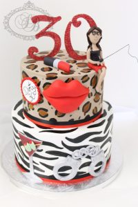 2 tier leopard and zebra print cake with red details