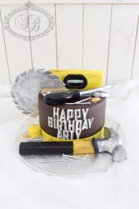1 tier building tools cake with yellow tape measure feature