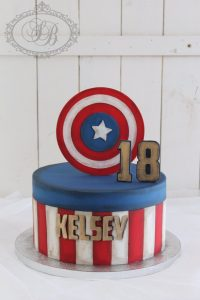 18th birthday Captain America cake with shield topper