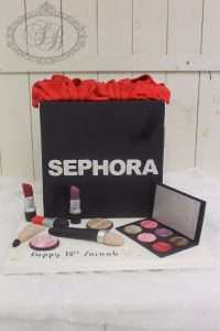 3D Sephora makeup shopping bag cake with fondant makeup