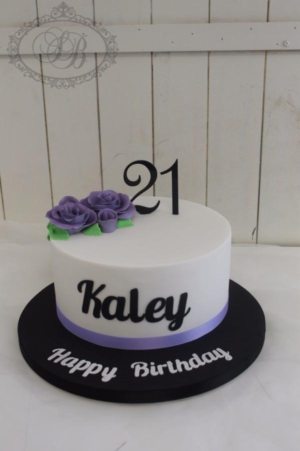 Phenomenal 1 Tier White Cake With Purple Roses And Black Writing Sweet Personalised Birthday Cards Arneslily Jamesorg