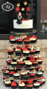 Red carpet themed cake and cupcake tower