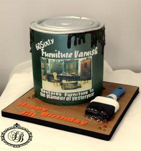 3D paint tin cake with fondant paint brush