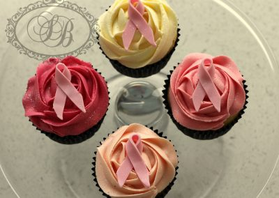 Breast cancer foundation ribbon cupcakes buttercream swirl