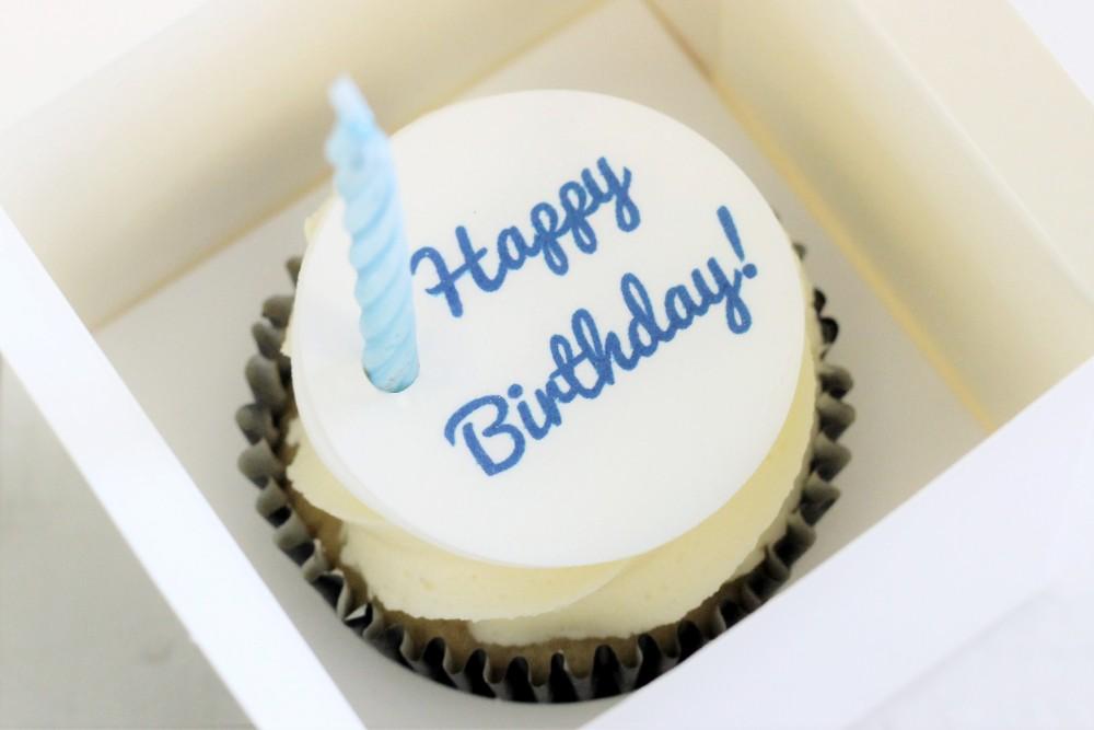 Blue Happy Birthday Cupcake Topper