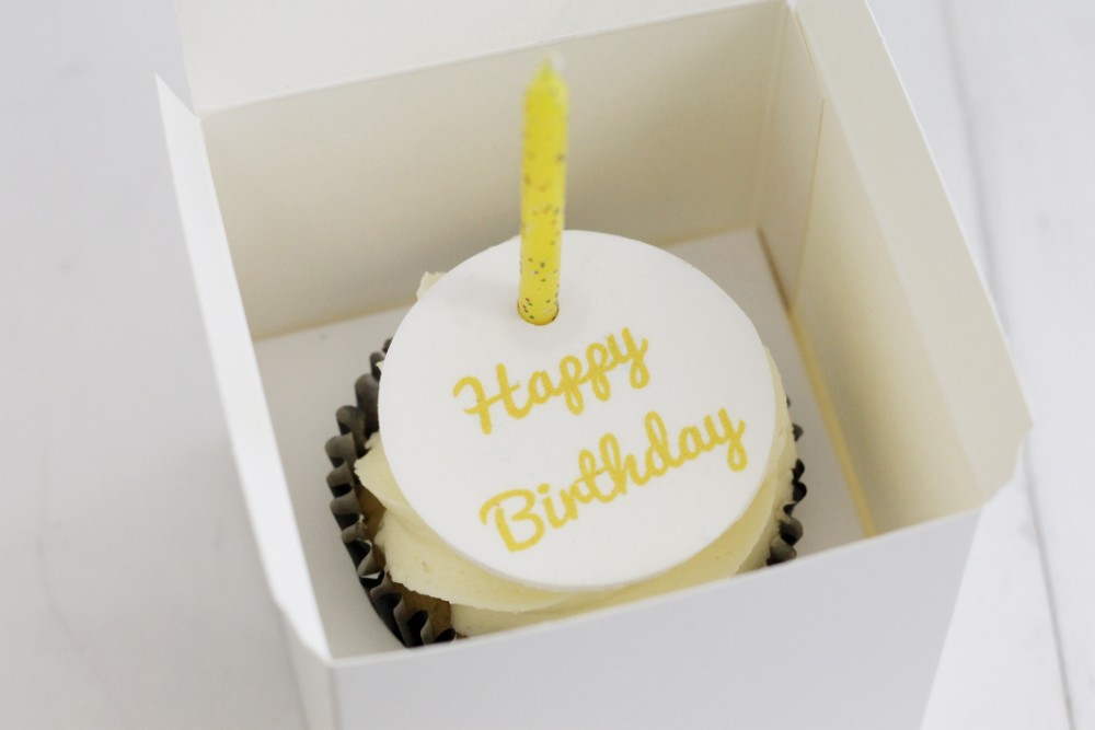 Yellow Happy Birthday Cupcake Topper