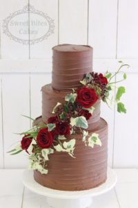 Dark chocolate ganache wedding cake