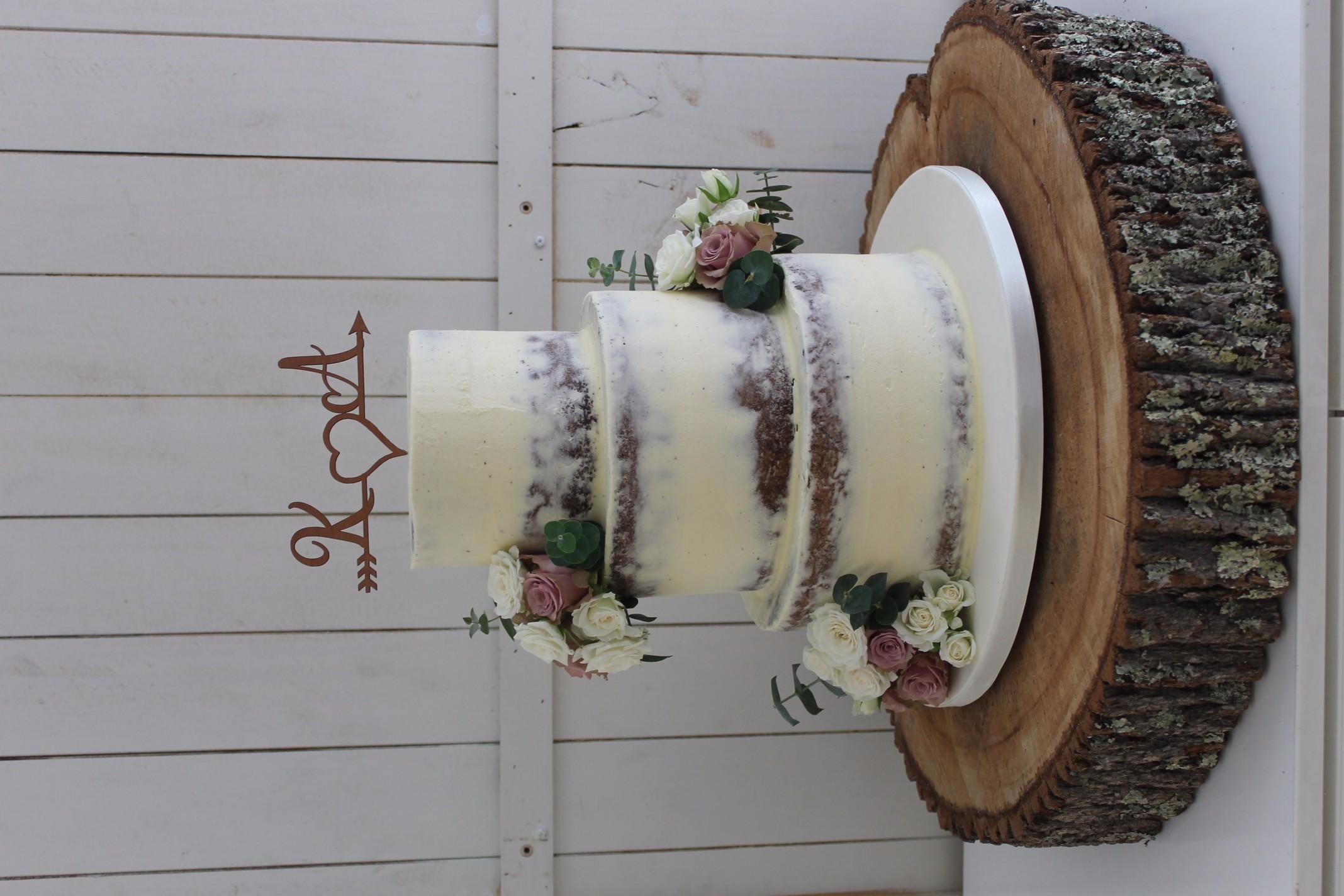 semi naked iced wedding cake
