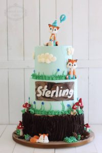 3 tier kids woodland theme cake