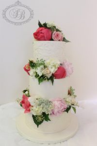 3 tier fresh flower blocked wedding cake