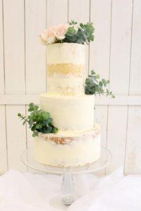 Semi naked buttercream 3 tier cake