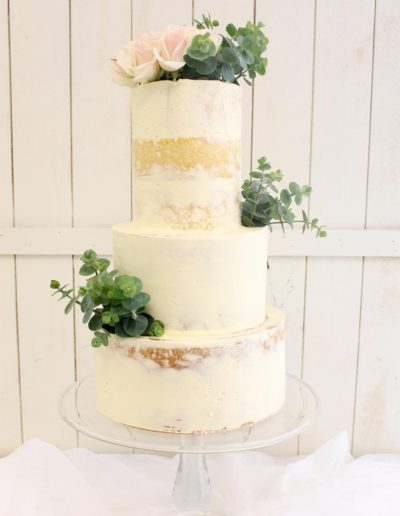 Semi naked buttercream 3 tier cake