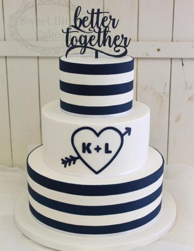 Navy and white strip wedding cake