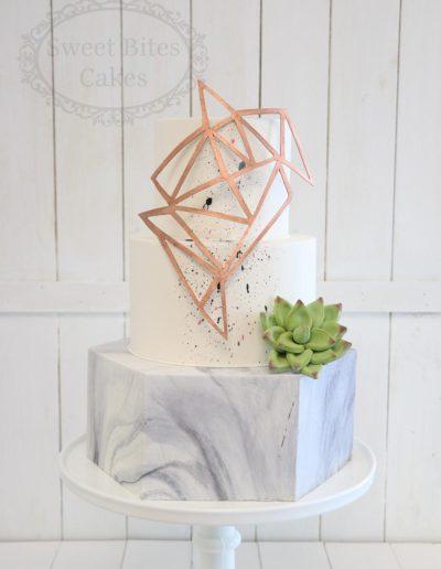 Geometric and marble wedding cake