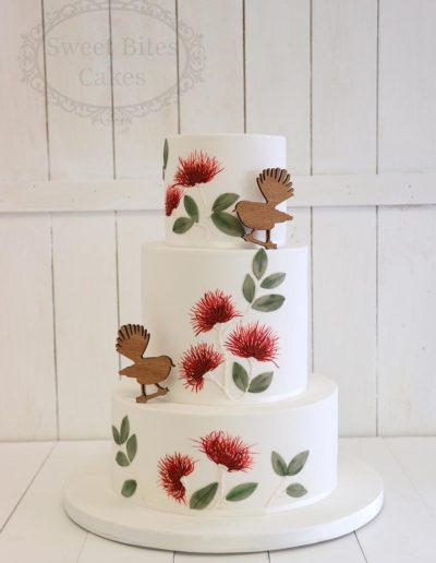 3 tier pohutakawa wedding cake