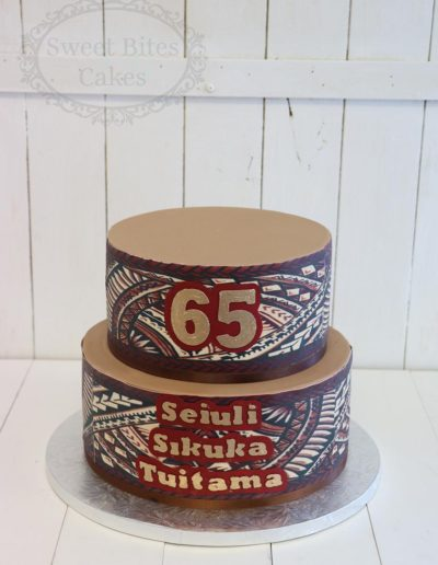 2 tier Tapa cloth cake