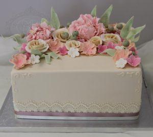 Square flowers cake