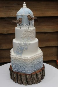 Baby blue bird cage wedding cake