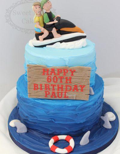 2 tier jetski ocean theme cake