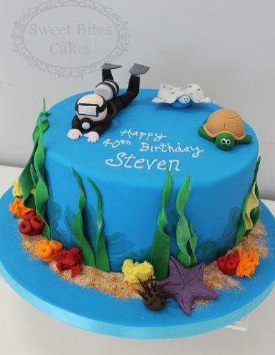 Scuba diver theme cake