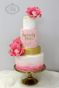 4 tier 21st pink and gold birthday cake