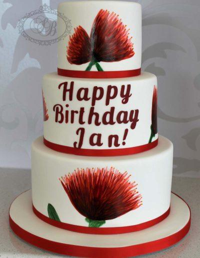 3 tier pohutakawa birthday cake