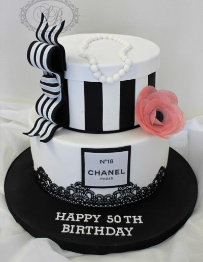 2 tier black and white chanel cake