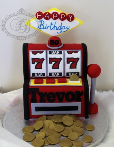 3D casino pokie machine cake